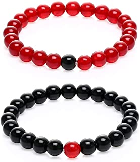 GAGAFEEL Couple Distance Bracelet His Hers 8mm Black Agate & Quartz Beads Matching Set Elastic Bracelets