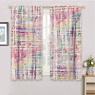 HoBeauty home Grungeblack Out Window curtainAbstract Grunge Paint with Manifold Complicated Mixed Figures and Lines Artsy Printsmall Window curtainMulticolor72 x 63 inch