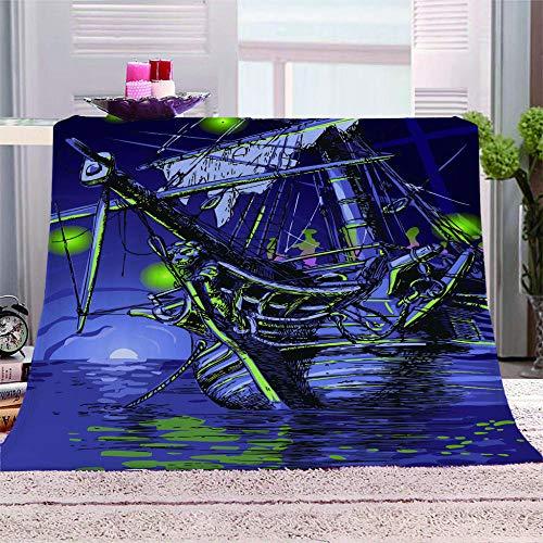 SMSLTZ 3D Decke Schäbiges Segelschiff 3D Drucktuch Mädchen Jungen Weichen Bett Wirft,Decke Bettwäsche Plüschsofa Decke Geschenke Für Kinder.120X150Cm