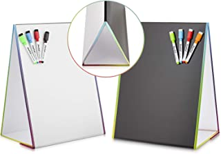 Tabletop Magnetic Easel Whiteboard & Washable Blackboard with Chalkboard Design (2..