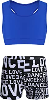QinCiao Girls Two Piece Athletic Outfit Racer Back Sports Bra Crop Top with Booty Shorts for Workout/Gymnastic/Dancing