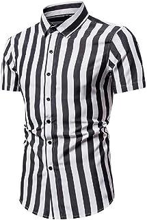 Abeaicoc Men Down Button Print Stripe Shirt Slim Fit Casual Color Block Dress Work Shirt