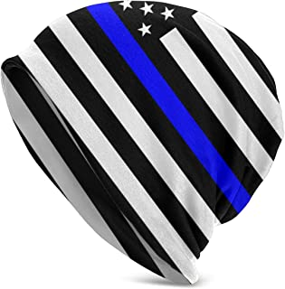 LAKVQEE Thin Blue Line Blue Lives Matter Flag.png Slouchy Beanie Skull Cap Hat Infinity Scarf Soft Chemo Hats for Cancer