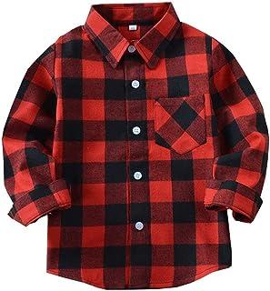 子供ブラウス 男の子 長袖 チェック柄 折襟 綿製 春秋 柔らかい 12選択 100-160cm