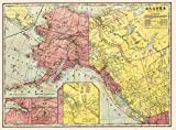 MAP ANTIQUE 1901 CRAM ALASKA NORTH WEST CANADA LARGE REPRO