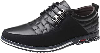 Leather Trainers Men Lace-Up Round Toe Formal Shoes Quilted Casual Smart Shoes Anti Sli Business Shoes Fashion Derbies Boa...