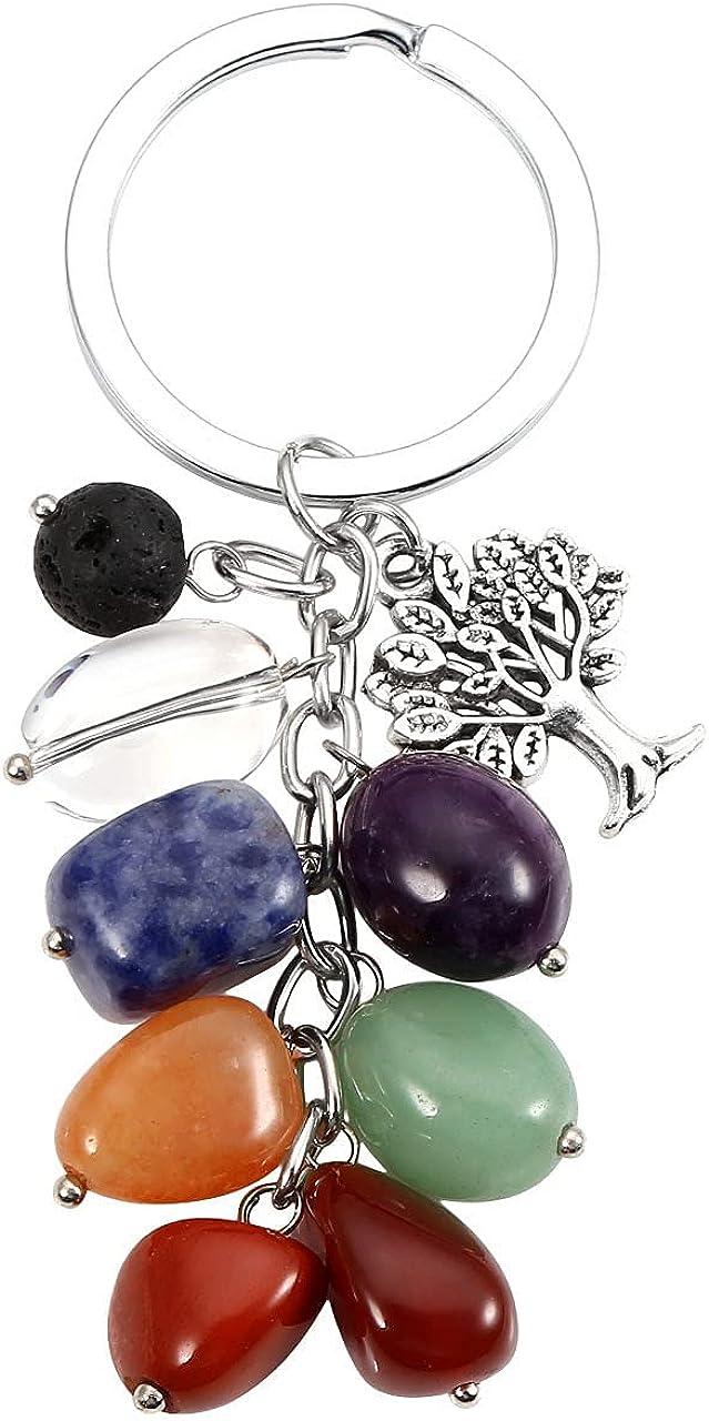 MANIFO 7 Chakra Crystals Gemstone Keyring Healing Tumble Stones Tree of Life Keychain for Women Men