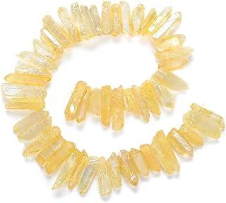 2 جديلتان من الكريستال الطبيعي | متوسطة الحجم بندول ونقاط توباز أصفر AB مطلية بالتيتانيوم (~ إجمالي 76.2 سم) أعلى حجر كريم...