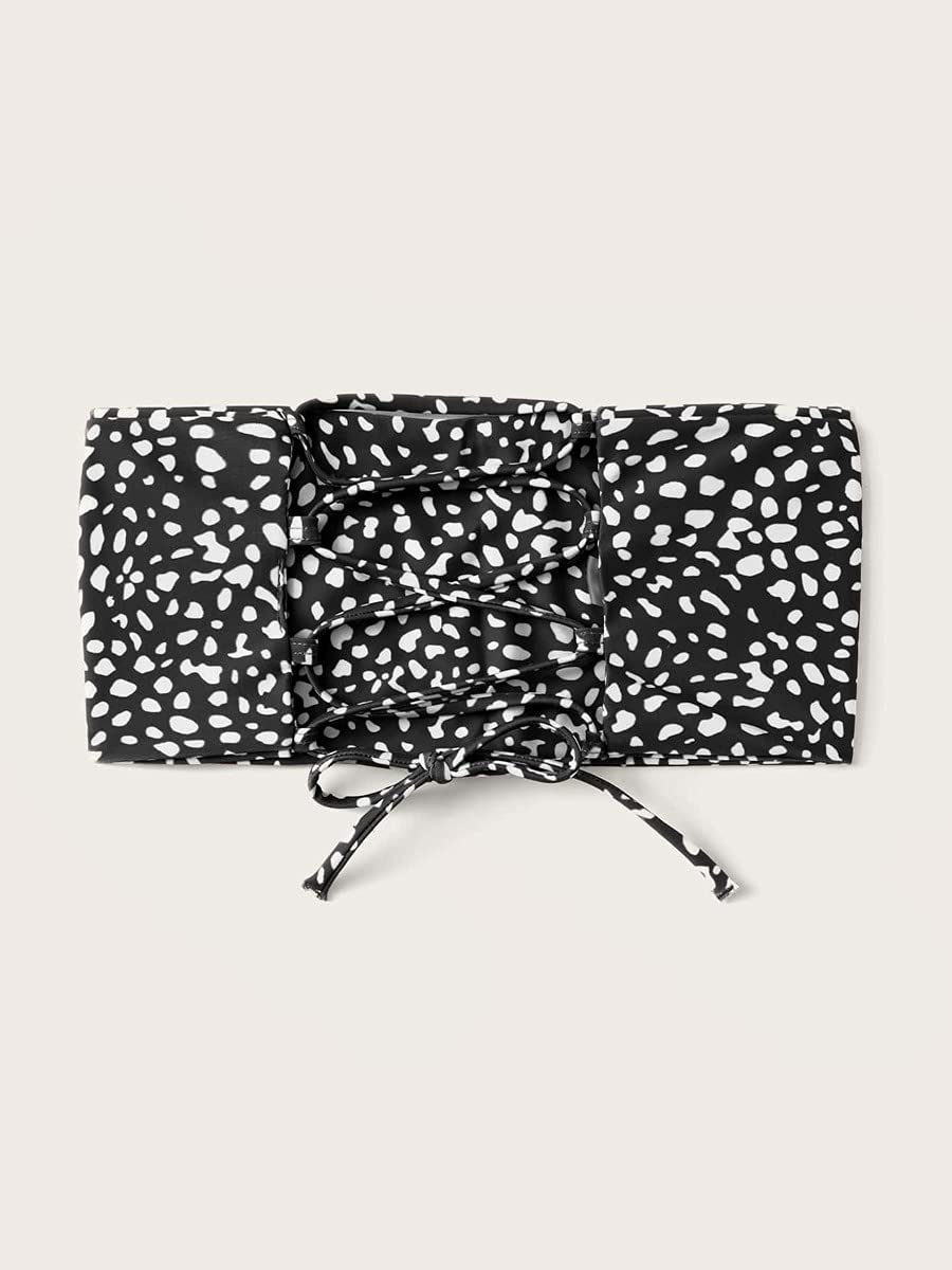 NICEAPR Miami Mall Bikini Dalmatian Lace-up Color Top Super special price Bandeau Back