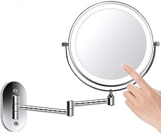 ZEPHBRA 8 Pouces Double Face LED Miroirs de Maquillage, Miroir Grossissant Mural,..