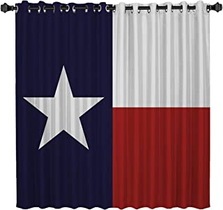 Blackout Window Curtains Room Darkening Curtains Texas Prefecture Flag Window Curtain Panels for Bedroom 52 inch Wide by 84 inch Long