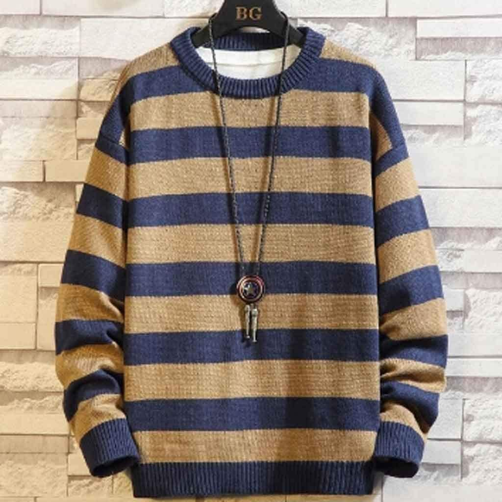 ZYING Oversized Men Sweater New Winter Thick Warm Mens Pullover Sweaters Fashion Homme Male Striped Knit Jumper (Color : Style 2)