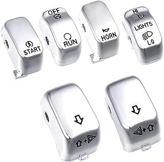 Amazicha Chrome 6 pcs Hand Control Switch Housing Caps for Harley 1996-2013