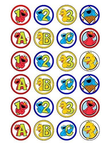 24x Sesam Street ABC Essbar Cupcake caketoppers