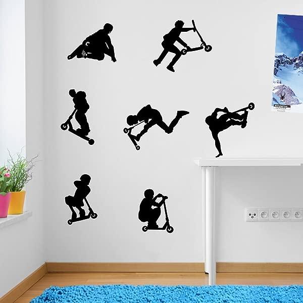 OneMtoss Kids Stunt Scooters Jumps Tricks Wall Decorations Wall Stickers Vinyl Decor Wall Art Wall Decals Wall Decal Decals Mural Decor Removable Children Wall Decals