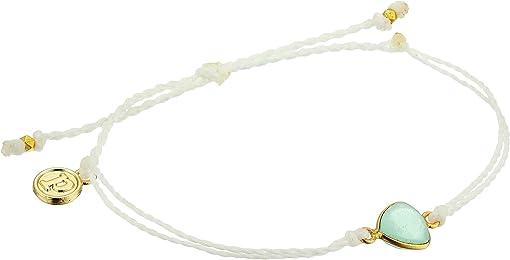 Bezel Set Chalcedony Charm/White String