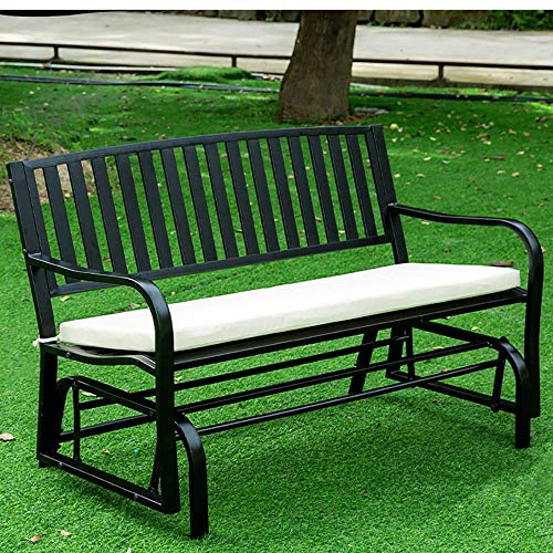 household Outdoor Metal Double Rocking Chair, Outdoor Balcony Leisure Bench, Garden Swing Rocking Seat With Backrest And Armrest, For Garden, Terrace, Balcony
