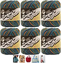 Bulk Buy: Lily Sugar'n Cream Yarn 100% Cotton Solids and Ombres (6-Pack) Medium #4 Worsted Plus 5 Lily Patterns (Capri Ombre 02747)