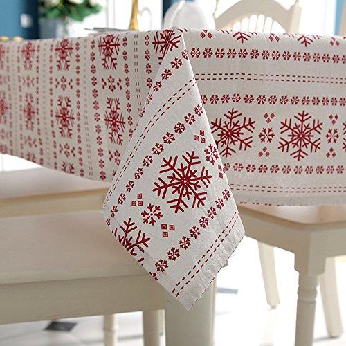 Modelli del Tessuto di Cotone del Fiocco di Neve di Copertura Tavolo da Pranzo Cucina Tovaglia per Natale, Decorazione del Partito, 140cm x 220 cm