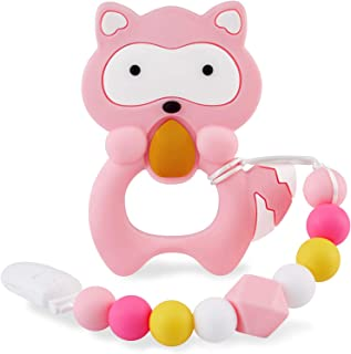 Baby Teething Toys for 0-6 6-12 Months Babies, Silicone Teethers with Relief Beads Binky Holder and Pacifier Clips, Raccoon Design for Boys and Girls (Pink)