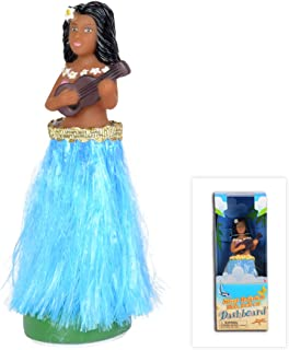 WEY&FLY Hawaiian Hula Girl with Ukulele, Bobble Head for Cars, Dashboard Bobble Shaker Doll, Collection Figurines Gifts for Decoration Souvenirs (Blue)