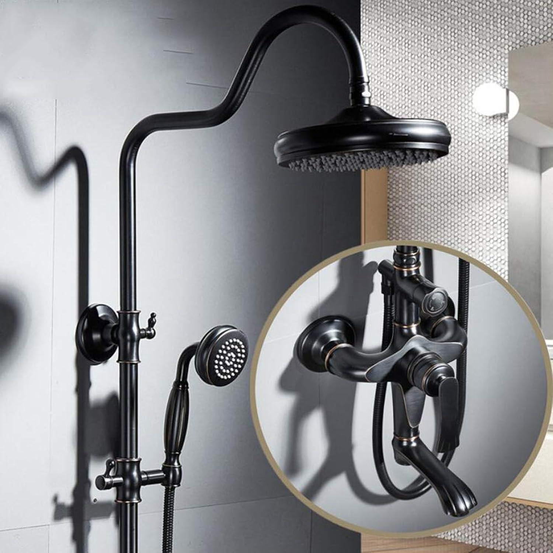 BTSSA Europischer Stil Badezimmer Duschset,Hhenverstellbar 92135cm Messing Retro Handbrause Duschpaneel System ORB Zeichnungsprozess