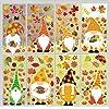 Joy Bang 秋 感謝祭 ウィンドウステッカー 8枚 秋のノーム エルフ スカンジナビアの秋のウィンドウデカール デコレーション 感謝祭 デコレーション ホーム秋の装飾