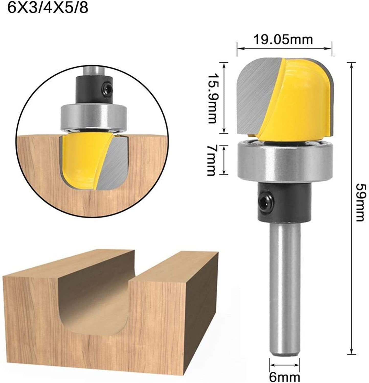 3//4 Diameter Bowl Tray Template Router Bit 1//4 6mm Shank Qingn-Milling Cutter Cutting Edge Length : 6X19.05 Strong and Sturdy