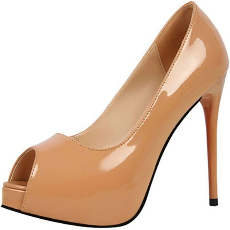 Owen Moll Women Pumps, Fashion Peep Toe Patent Leather Shallow Party shoes