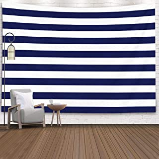 Sertiony Hanging Tapestry Wall Art, Art Map Tapestry Décor 80X60 Inches Blue and White Stripes Pattern Horizontal Navy Blue White Stripes Pattern for Bedroom Colorful Big Tapestries,Ivory Gray