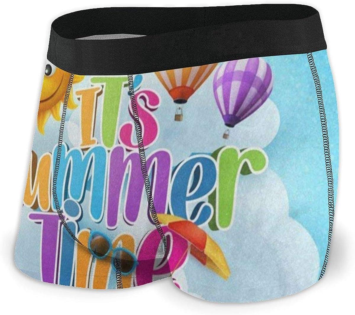 Mens Boxer Briefs Summer Time Sun Face Balloon Cloud Breathable Underwear