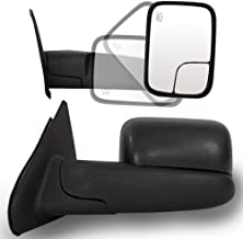 Roadstar Towing Mirrors for 02-08 Dodge Ram 1500 | 03-09 Dodge Ram 2500 3500 Pickup Truck Power Heated Tow Extend Flip Up Power Heated Folding Side View Black Mirror Pair Set