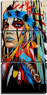 Native American Indian Canvas Wall Art Paintings Woman Girl Colorful Feathered Prints in 3 Panles Verical Paintings for Home Walls Decoration,Framed