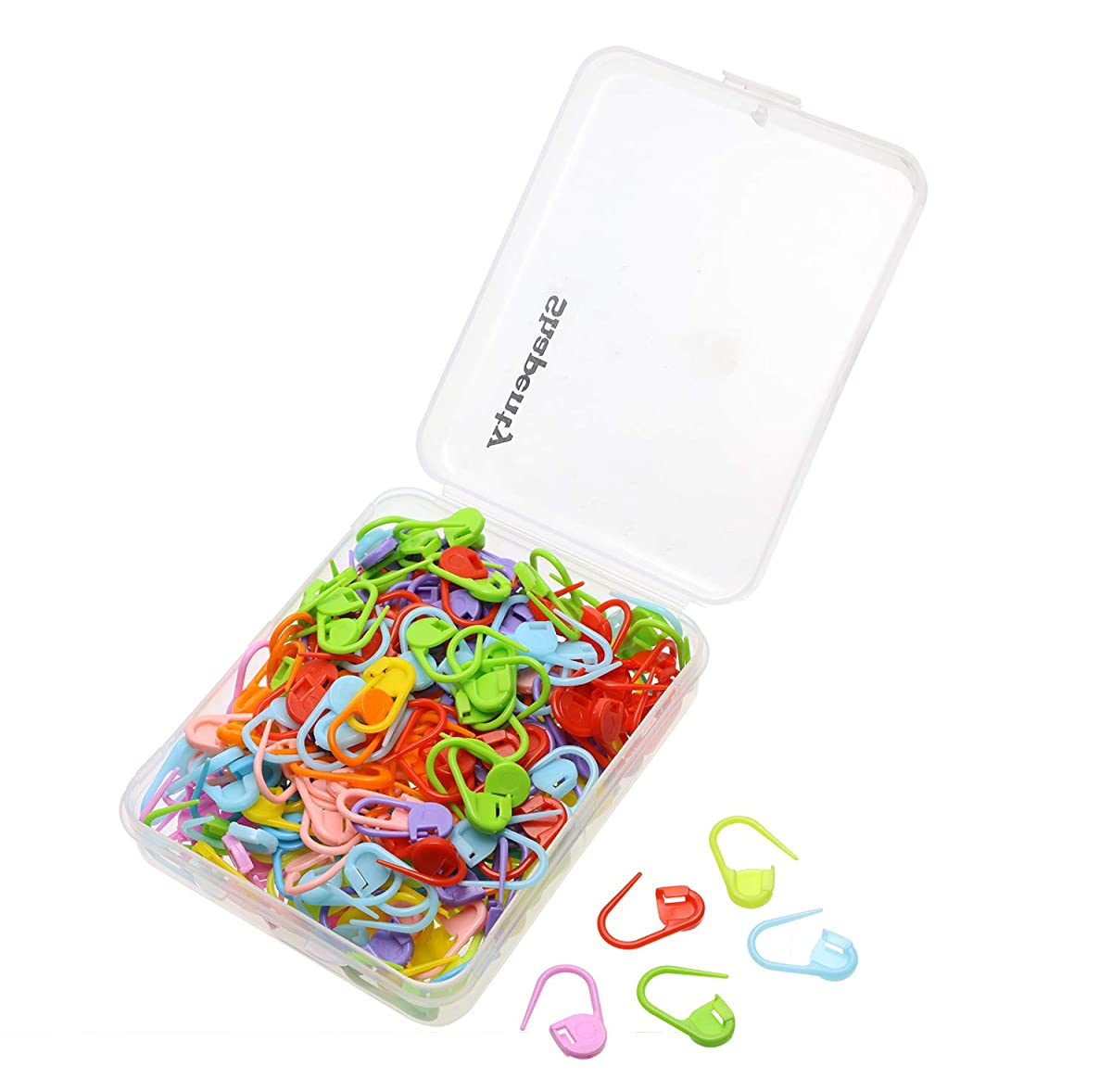 Shapenty Knitting Crochet Locking Stitch Markers DIY Craft Plastic Safety Pins Weave Stitch Needle Clip Counter, 22mm, (10 Colors, 250PCS)