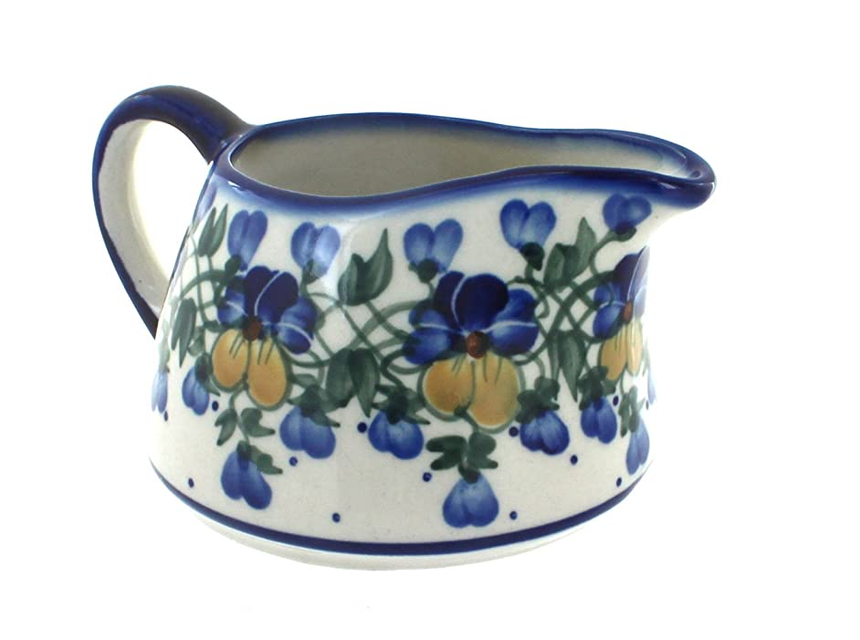 Blue Rose Polish Pottery Pansies Gravy Boat