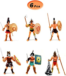 X Hot Popcorn 6 Pcs Action Figurine Roman Gladiator with Weapon and Shield, Plastic Figure Kids Toys