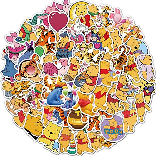 YZFCL Cartoon Bear Winnie The Cup of Skates Laptop Graffiti Waterproof Stickers 50 Sheets