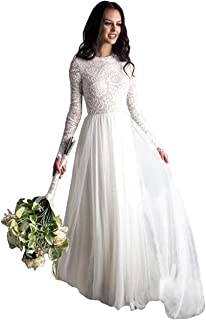 DressyMe Floral Lace Wedding Dresses 1//2 Sleeves Illusion-Neck Tulle Party Dress