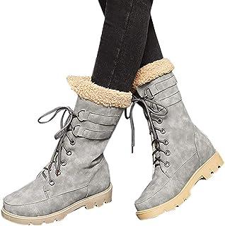 Dainzuy Women's Warm Snow Boots Ankle Lace up Mid-Calf Combat Boot Slip on Winter Low Heel Faux Fur Booties