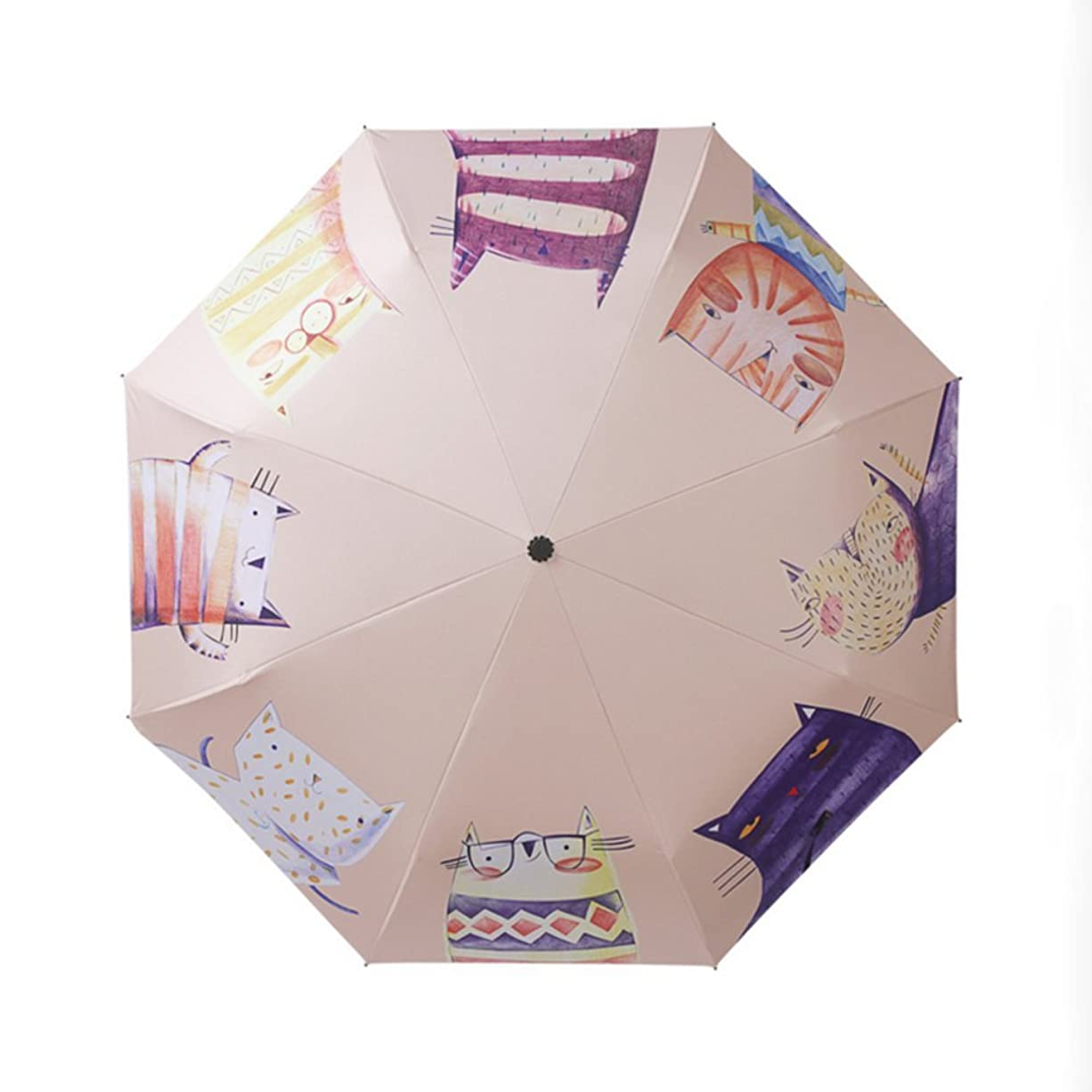 日インスタント墓折りたたみ傘 可愛い猫柄 雨傘 日傘 遮光遮熱 超撥水性良く 紫外線予防加工 UVカット率 98% 以上 骨組み傘 手動傘 安心検品 かわいい おしゃれ レディース 晴雨兼用 日傘 軽量 大人 置き傘 贈り物 ギフト (ベージュ)
