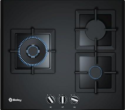 Balay, 3ETG676HB - Placa de gas, 5 Zonas, Ancho 75 cm, Cristal templado negro, Control preciso de la llama en 9 niveles, Seguridad GasStop