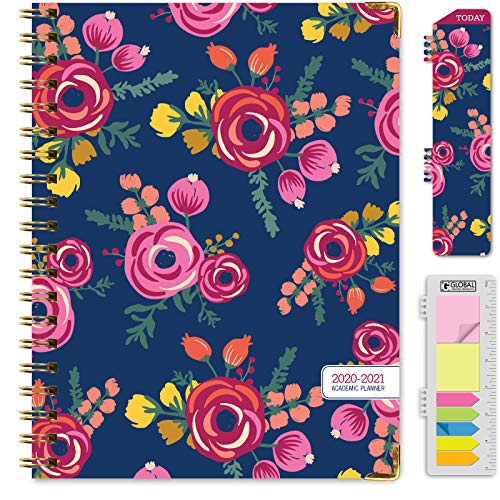 HARDCOVER Academic Year 2020-2021 Planner: Bonus Bookmark Pocket Folder and Sticky Note Set June 2020 Through July 2021 June 2020 - July 2021 5.5x8 Daily Weekly Monthly Planner Yearly Agenda
