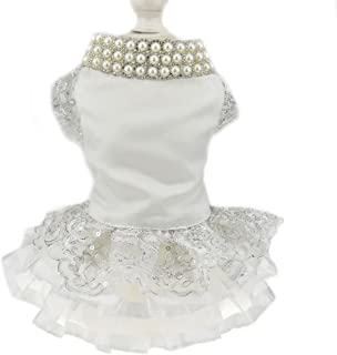 Luxury Lace Pearl Dog Dress for Cat Pet Dog Skirt Embroidery Dog Wedding Dress Apparel Summer Dog Shirt Clothes