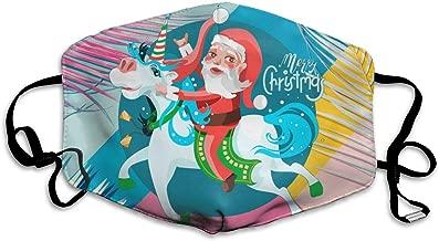 FEDSQ Unisex Fashion Mask Santa Claus Presents Gifts On Unicorns Dust Allergy Influenza Mask Ski Bike Half Mask