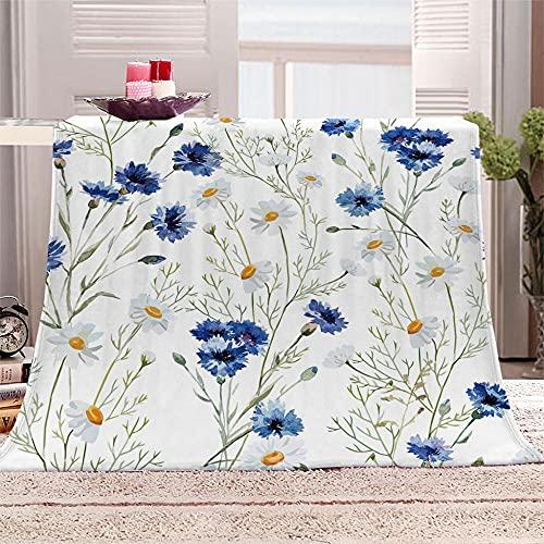 xczxc Manta de Lana Franela Crisantemo Azul y Blanco 3D impresión Microfibra súper Suave Manta de Lana, para Adultos y Niños sofá Cama Decorativo Picnic Viajar Manta 100x130cm