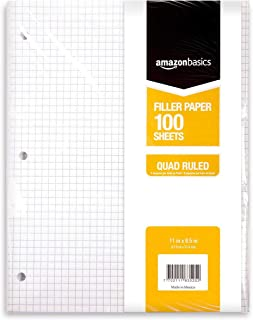 "AmazonBasics Graph Ruled Loose Leaf Filler Paper, 100-Sheet, 11"" x 8.5"", 6-Pack"