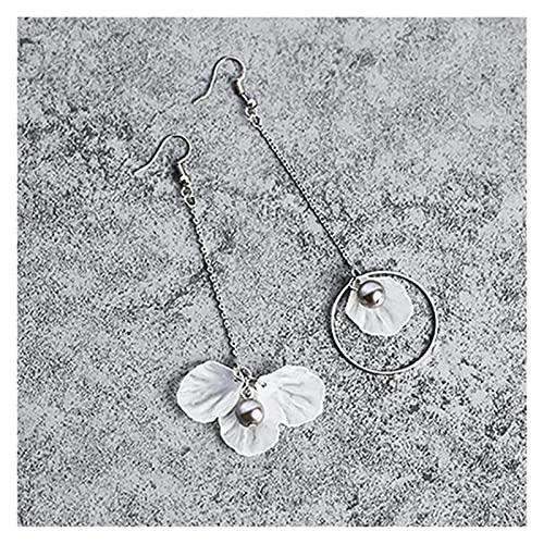 feilai 2021 Coreano nuevo temperamento moda pendientes largos de personalidad salvaje flores borla asimétrica pendientes (color metal: plata)