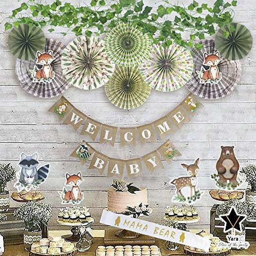 YARA Woodland Baby Shower Decorations Kit|Gender Neutral Party Supplies for Boy or Girl|Rustic Burlap Welcome Baby Banner|Forest Animal Creature Cut Outs|Paper Fans|Greenery Ivy Vines Garland|Fox|Sash