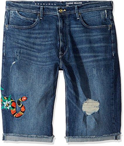 Sean John Men's Big and Tall Embroidered Five Pocket Denim Short, Rapture Wash, 50B