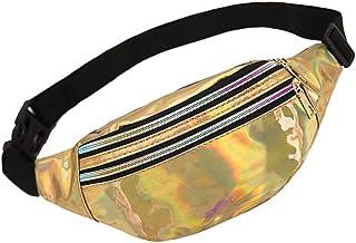 WD&CD Cangurera Deportiva Cinturón Bolso Unisex Moda PU Holográfica Cintura Bolsa Brillante Paquete de Cintura Bolsa de Cintura para CoWalkers, Metálico Ligero Viaje Correr Ciclismo Bolsa Deportiva